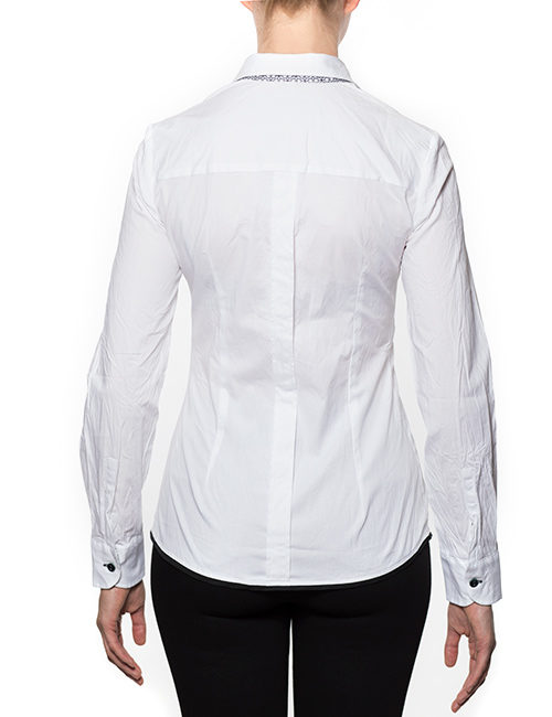 Marilyn Cotton Stretch Blouse - White, Long Sleeves with Black/White Collar Trim-Back