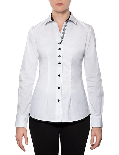 Marilyn Cotton Stretch Blouse - White, Long Sleeves with Black/White Collar Trim-Front