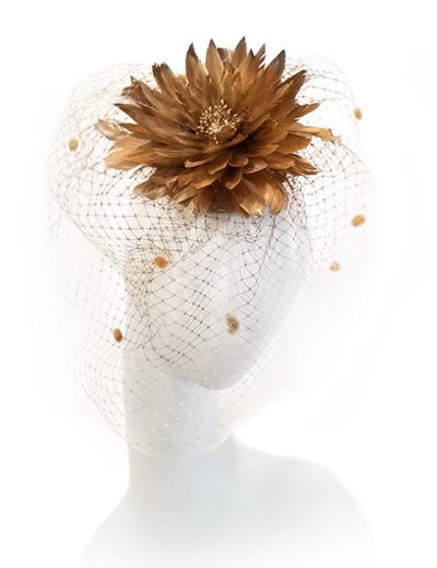 Feathered Flower Fascinator - Gold