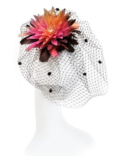 Feathered Flower Fascinator - Pink / Black