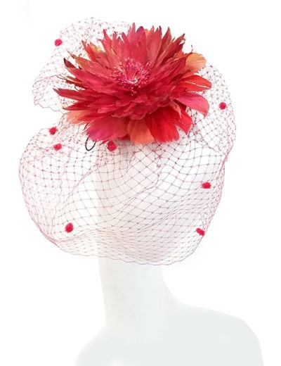 Feathered Flower Fascinator - Red