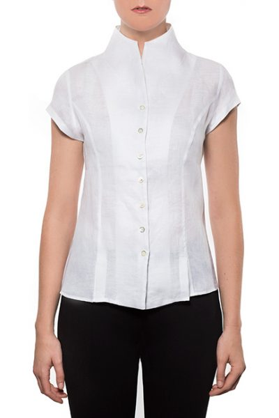 Marilyn-Capped-Sleeve-Blouse-Standup-Collar