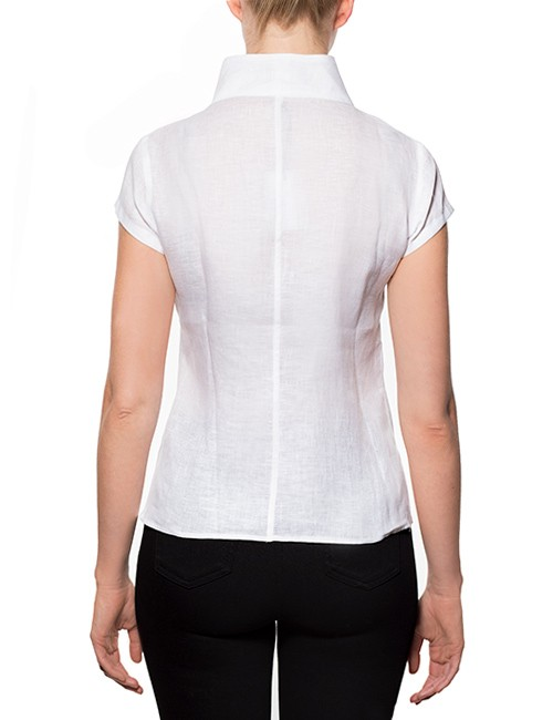 Marilyn-Capped-Sleeve-Blouse-Standup-Collar-back