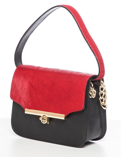 Marilyn Leather And Pony Handbag - Red-Black