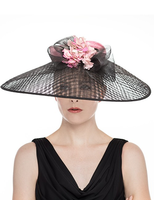 Wide Brim Hat With Firm Angular Shape and Floral Top – Black Pink ... 3a3feed3524