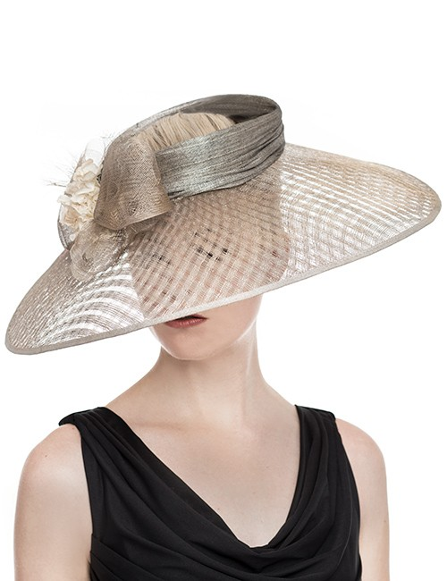 Wide Brim Hat With Firm Angular Shape and Floral Top