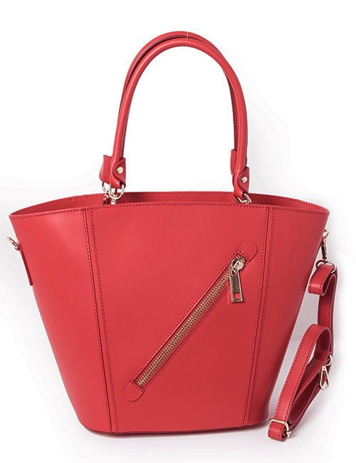 Marilyn Leather Handbag - Diagonal Zipper - Red