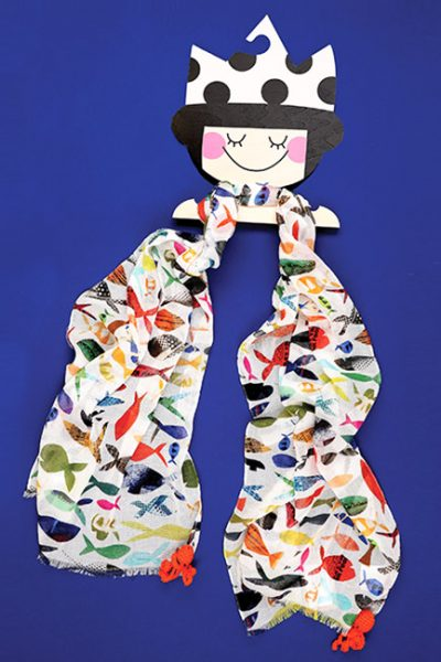 Child Scarf With Fish Motif