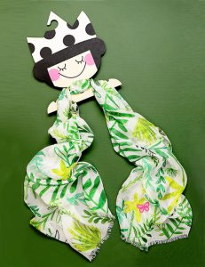 Child Scarf - Leaf Motif - Green and Yellow Tones