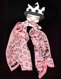 Child Scarf With Cat Motif - In Pink and Black