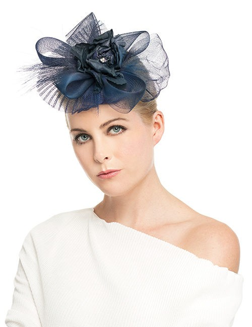 Fasinator-Big-Bow-with-flowers-pleated-tulle_navy