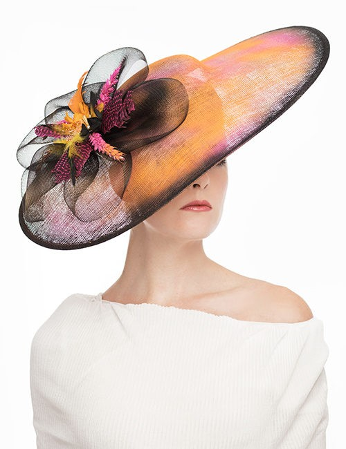 Large Fascinator - Rhinestones and Feathers - Orange-Black-Pink
