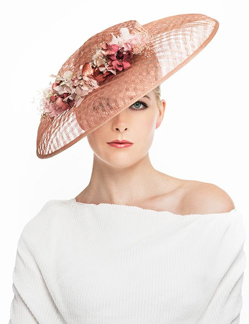 Large Fascinator Hat with Ring of Flowere - Pink/Salmon