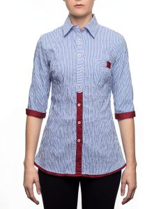 Marilyn Blue and White Stripe Blouse With Burgundy Trim