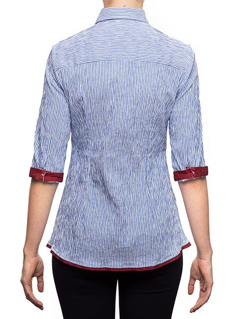 Marilyn Blue and White Stripe Blouse With Burgundy Trim - back