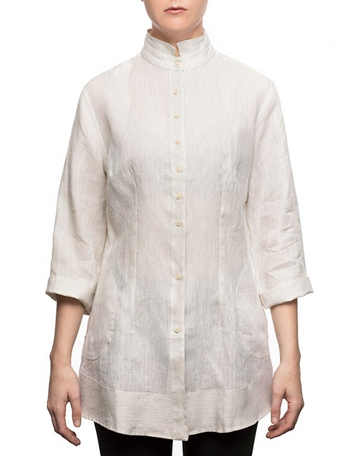 Marilyn Long Linen Blouse With 3/4 Sleeves and Pockets