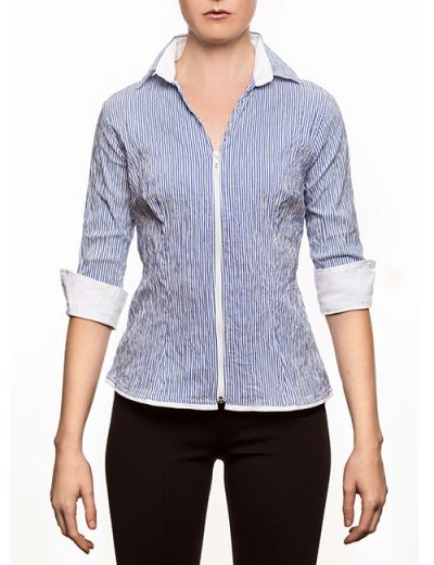 Marilyn Blue and White Stripe - V-neck-collar Blouse with Zipper