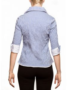 Marilyn Blue and White Stripe - V-neck-collar Blouse with Zipper- back-view