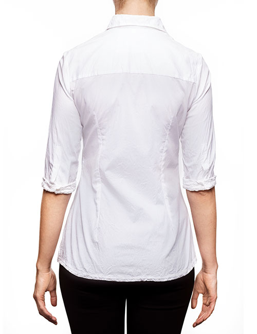 Marilyn Cotton Stretch 3/4 Sleeve Blouse with Pocket - White - back