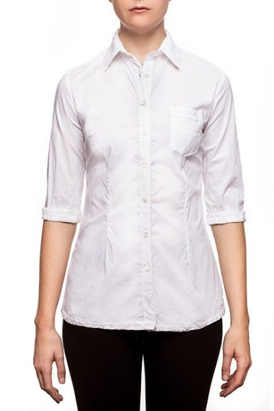 Marilyn Cotton Stretch 3/4 Sleeve Blouse with Pocket - White