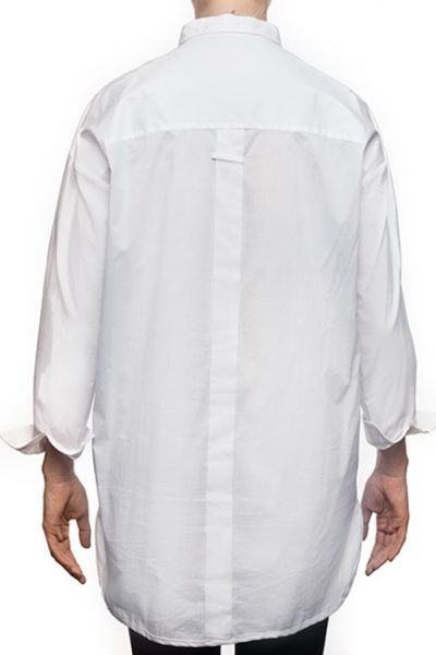 "Marilyn ""Boyfriend"" Blouse - Loose Fit, Long With Long Sleeves - White-back"