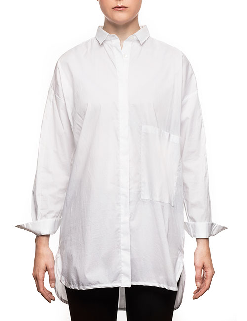 "Marilyn ""Boyfriend"" Blouse - Loose Fit, Long With Long Sleeves - White"