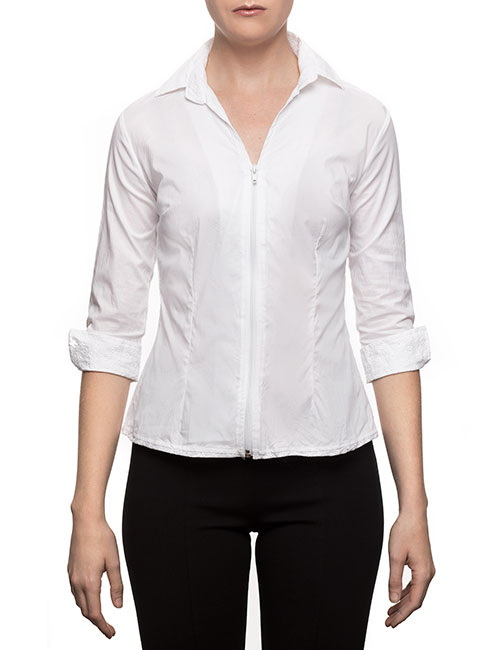 Marilyn Fitted White Blouse With Front Zipper