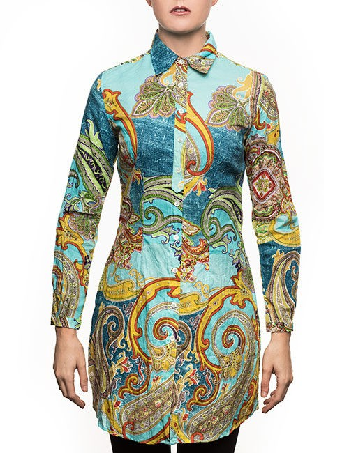 Marilyn Blouse - Mixed-Print In Turquoise and Gold - Long