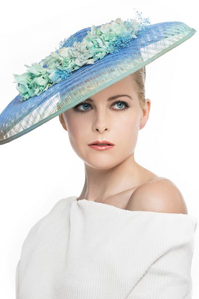 Large Fascinator Hat with Blue - Aqua Tones