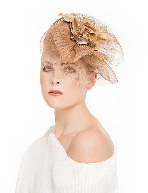 5bc22bb8d9471 Fascinator Hat With Pleats and Veil Accented by Flowers – Copper ...