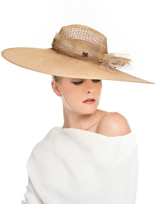 Wide Flat Brim Hat - Beige-Gold