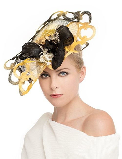 Fascinator - Circles and Bows - Yellow-black