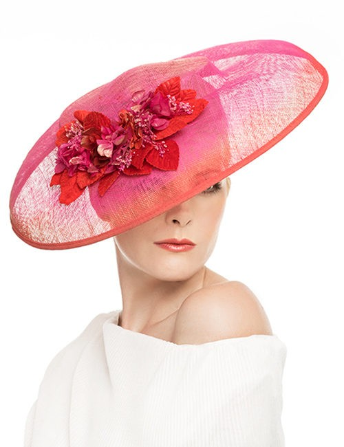 Large Fascinator hat with floral cluster - Hot Pink