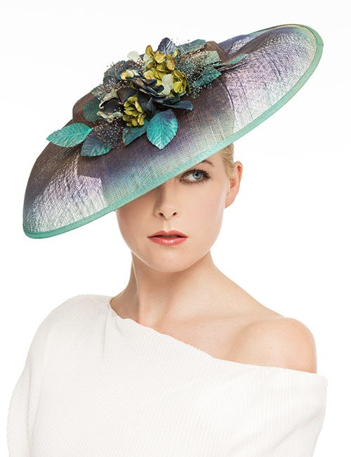 Large Fascinator hat with floral cluster - Blue/green