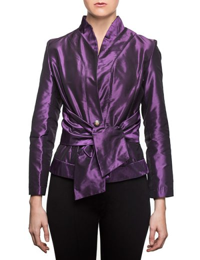 Taffeta Evening Blouse With Waist Sash and Stand-up Collar - Purple