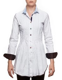 "Marilyln ""Signature"" Cotton Stretch Long White Pleated Blouse With Mixed Button Colors"