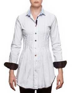 """Marilyln """"Signature"""" Cotton Stretch Long White Pleated Blouse With Mixed Button Colors"""