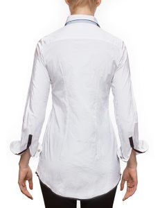 """Marilyln """"Signature"""" Cotton Stretch Long White Pleated Blouse With Mixed Button Colors- back view"""