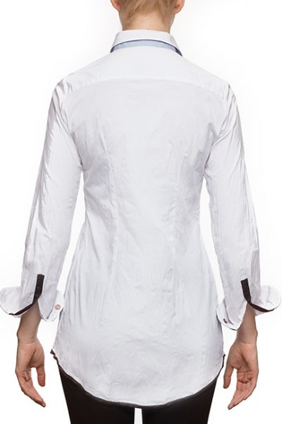 "Marilyln ""Signature"" Cotton Stretch Long White Pleated Blouse With Mixed Button Colors- back view"