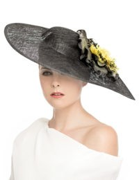 Large Fascinator Hat - Black With Yellow Flower Cluster
