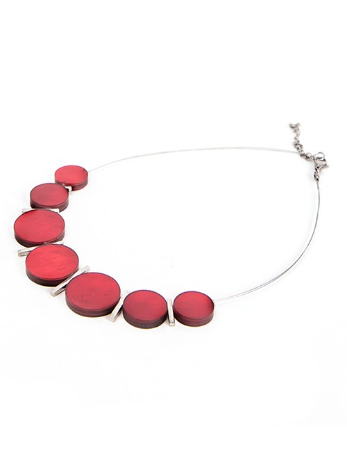 Necklace With Graduated Red Acrylic Disks And Silver Chain