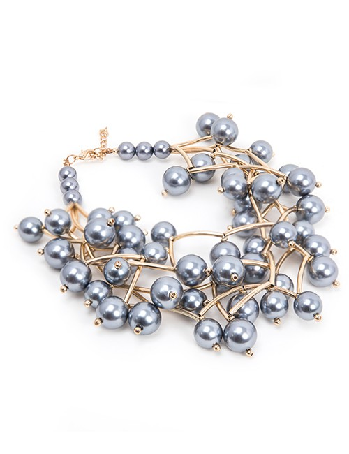 Simulated Pearl Cluster Necklace - Gray