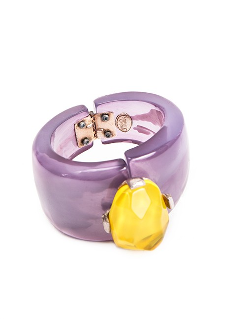 Lavender And Yellow Acrylic Wide Cuff Bracelet