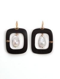 Black Rectangular Earrings With Pearl Center Dangle