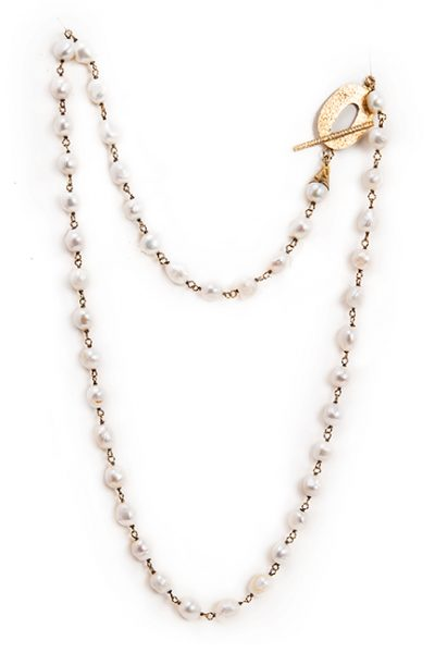 Long pearl station necklace