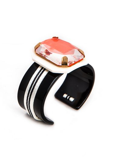 Black And White Acrylic Wide Cuff Bracelet With Coral Top