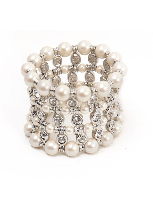 Pearl and Crystal Wide Bracelet