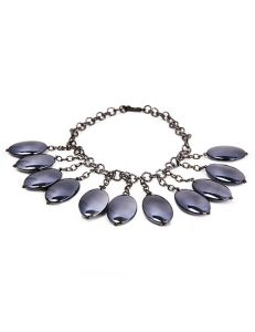 Chunky Silver Metal Chain Linked Necklace With Large Resin Oval Beads -Charcoal