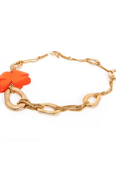Necklace - Gold Metal Chain With Muli-Sized Links and Orange Acrylic Flower