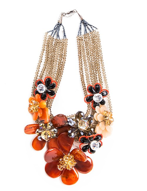 Necklace With Multiple BeadStrands and Large Resin Flowers-Rust/Orange
